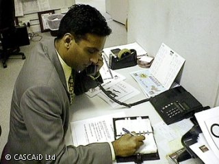 Salesperson on phone